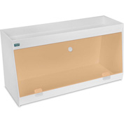 """TrippNT™ White PVC Angled Double Safety Shelf Station with Orange Door, 24""""W x 9""""D x 12""""H"""