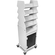 TrippNT™ White Tall Slanted Suture Cart with Bulk Storage Area, Smoke Acrylic Door