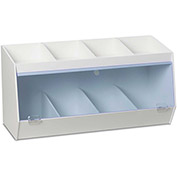 "TrippNT™ White PVC Storage Bin with 8 Compartments, Blue Acrylic Door, 24""W x 10""D x 13""H"
