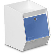 "TrippNT™ White PVC Storage Bin with 1 Shelf, Blue Acrylic Door, 7""W x 8""D x 9""H"