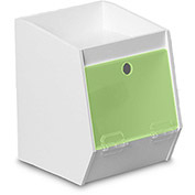 "TrippNT™ White PVC Storage Bin with 1 Shelf, Green Acrylic Door, 7""W x 8""D x 9""H"