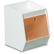 "TrippNT™ White PVC Storage Bin with 1 Shelf, Orange Acrylic Door, 7""W x 8""D x 9""H"