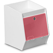 "TrippNT™ White PVC Storage Bin with 1 Shelf, Red Acrylic Door, 7""W x 8""D x 9""H"