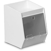 "TrippNT™ White PVC Storage Bin with 1 Shelf, Smoke Acrylic Door, 7""W x 8""D x 9""H"