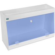 "TrippNT™ White PVC Angled Double Safety Shelf Station with Blue Door, 24""W x 9""D x 14""H"