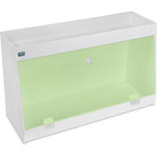 "TrippNT™ White PVC Angled Double Safety Shelf Station with Green Door, 24""W x 9""D x 14""H"