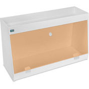 "TrippNT™ White PVC Angled Double Safety Shelf Station with Orange Door, 24""W x 9""D x 14""H"