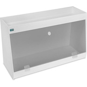 "TrippNT™ White PVC Angled Double Safety Shelf Station with Smoke Door, 24""W x 9""D x 14""H"