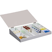 "TrippNT™ White Drawer Organizer with Clear Hinged Lid, 19""W x 14""D x 4""H"