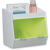 "TrippNT™ White PVC Storage Bin with 2 Compartments and 1 Shelf, Green Door, 11""W x 9""D x 10""H"