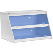 "TrippNT™ White PVC Angled Triple Safety Shelf Station with Blue Door, 24""W x 9""D x 12""H"