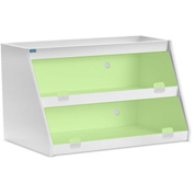 "TrippNT™ White PVC Angled Triple Safety Shelf Station with Green Door, 24""W x 9""D x 12""H"