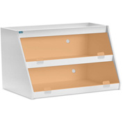 "TrippNT™ White PVC Angled Triple Safety Shelf Station with Orange Door, 24""W x 9""D x 12""H"