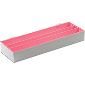 "TrippNT™ White Small Pipette Storage Box and Drawer Organizer with Red Lid, 25""W x 8""D x 3""H"