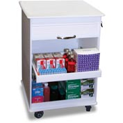 TrippNT™ 50591 Maui Lab Island White Polyethylene Mobile Locking Lab Cart