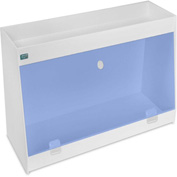 "TrippNT™ White PVC Angled Double Safety Shelf Station with Blue Door, 24""W x 9""D x 16""H"