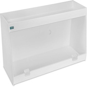 "TrippNT™ White PVC Angled Double Safety Shelf Station with Clear Door, 24""W x 9""D x 16""H"