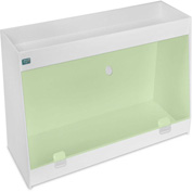 "TrippNT™ White PVC Angled Double Safety Shelf Station with Green Door, 24""W x 9""D x 16""H"