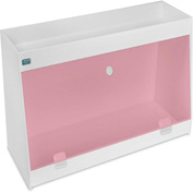 "TrippNT™ White PVC Angled Double Safety Shelf Station with Red Door, 24""W x 9""D x 16""H"