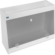 "TrippNT™ White PVC Angled Double Safety Shelf Station with Smoke Door, 24""W x 9""D x 16""H"