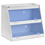 "TrippNT™ White PVC Angled Triple Safety Shelf Station with Blue Door, 24""W x 11""D x 18""H"
