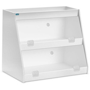 "TrippNT™ White PVC Angled Triple Safety Shelf Station with Clear Door, 24""W x 11""D x 18""H"
