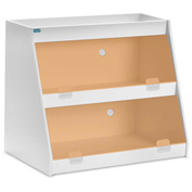 "TrippNT™ White PVC Angled Triple Safety Shelf Station with Orange Door, 24""W x 11""D x 18""H"