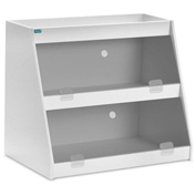 "TrippNT™ White PVC Angled Triple Safety Shelf Station with Smoke Door, 24""W x 11""D x 18""H"
