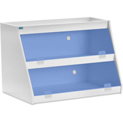 "TrippNT™ White PVC Angled Triple Safety Shelf Station with Blue Door, 24""W x 11""D x 20""H"
