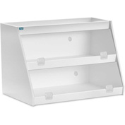 "TrippNT™ White PVC Angled Triple Safety Shelf Station with Clear Door, 24""W x 11""D x 20""H"