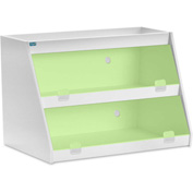 "TrippNT™ White PVC Angled Triple Safety Shelf Station with Green Door, 24""W x 11""D x 20""H"