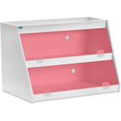 "TrippNT™ White PVC Angled Triple Safety Shelf Station with Red Door, 24""W x 11""D x 20""H"