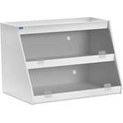 "TrippNT™ White PVC Angled Triple Safety Shelf Station with Smoke Door, 24""W x 11""D x 20""H"