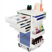 "TrippNT™ White Deluxe Medical Cart with Blue Acrylic Sliding Door, 23""W x 19""D x 35""H"