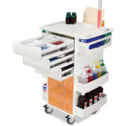 """TrippNT™ White Deluxe Medical Cart with Orange Acrylic Sliding Door, 23""""W x 19""""D x 35""""H"""