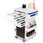 "TrippNT™ White Deluxe Medical Cart with Smoke Acrylic Sliding Door, 23""W x 19""D x 35""H"