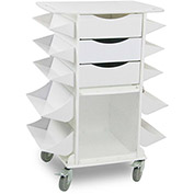 "TrippNT™ 51024 White Side Bins Cart with Large and Small Shelf Bins, 27""W x 19""D x 36""H"