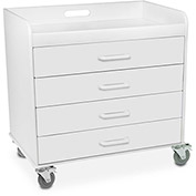 "TrippNT™ 51041 Extra Wide Compact 4 Drawer Locking Cart, White, 27""W x 19""D x 27""H"