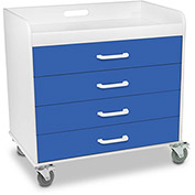"TrippNT™ 51131 Extra Wide Compact 4 Drawer Locking Cart, Global Blue, 27""W x 19""D x 27""H"