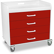 "TrippNT™ 51132 Extra Wide Compact 4 Drawer Locking Cart, Cherry Red, 27""W x 19""D x 27""H"