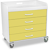 """TrippNT™ 51133 Extra Wide Compact 4 Drawer Locking Cart, Bright Idea Yellow, 27""""W x 19""""D x 27""""H"""