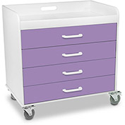 "TrippNT™ 51134 Extra Wide Compact 4 Drawer Locking Cart, Gum Drop Purple, 27""W x 19""D x 27""H"