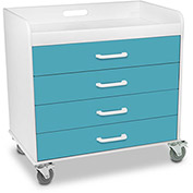 "TrippNT™ 51137 Extra Wide Compact 4 Drawer Locking Cart, Bahama Sea Teal, 27""W x 19""D x 27""H"