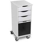"TrippNT™ Core SP Space Saving Lab Cart with Smoke Sliding Door, 15""W x 19""D x 35""H, White"