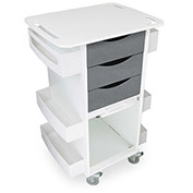 """TrippNT™ Deluxe Medical Cart with Clear Sliding Door, Silver Metallic, 23""""W x 19""""D x 35""""H"""