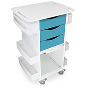 "TrippNT™ Deluxe Medical Cart with Clear Sliding Door, Bahama Sea Teal, 23""W x 19""D x 35""H"