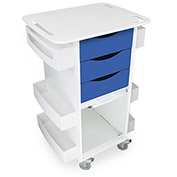 """TrippNT™ Deluxe Medical Cart with Clear Sliding Door, Global Blue, 23""""W x 19""""D x 35""""H"""