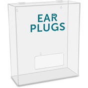 "TrippNT™ Ear Plugs Labeled Medium Apparel Dispenser, 15""W x 6""D x 18""H, Clear"