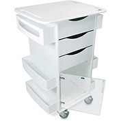 "TrippNT™ Deluxe Medical Cart with Clear Hinged Door, White, 23""W x 19""D x 35""H"