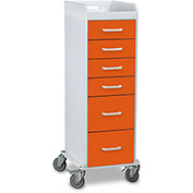 "TrippNT™ 51354 Tall Locking 6 Drawer Medical Cart, Pumpkin Orange, 16""W x 19""D x 47""H"